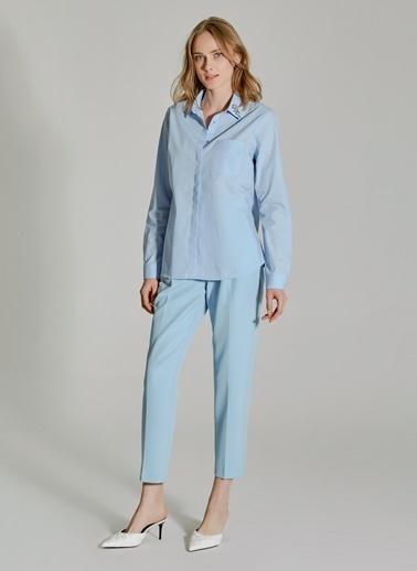 People By Fabrika Yakası İşlemeli Poplin Gömlek Mavi